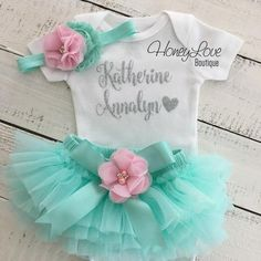 PERSONALIZED Name Outfit – Mint/Aqua and Silver Glitter – Light Pink flower embellished tutu skirt bloomers - Baby Boy Names Baby Girl Names Newborn Tutu, Baby Tutu, Newborn Outfits, Baby Girl Newborn, Tutus For Girls, Diy For Girls, Silver Outfits, Light Pink Flowers, Glitter Shirt