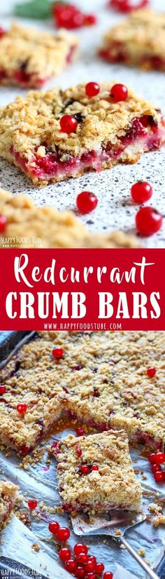 These redcurrant crumb bars will satisfy your sweet tooth. Oatmeal topping, juicy berry filling and sweet crust are turned into yummy homemade bars. Red currant dessert recipes via @happyfoodstube