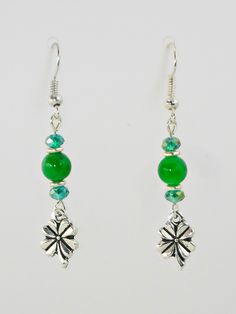 Antique Silver Clovers with Crystals & Green Beads