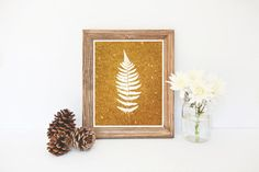 Fern Print, Gold Glitter Fern Art, Plant Silhouette, Printable Art, Gold Wall Decor, Instant Download, Nature Download, Leaf Printable