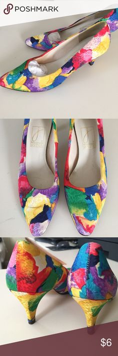 Vintage low heel fabric pumps Vibrant burst of colors. Size is 8, fit more like a 7-7 1/2. Questions? Joyce Shoes Heels