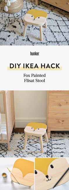 If you want to create an engaging and creative space for your child, simple projects like this DIY stool can transform a nursery or bedroom at very little cost. Ikea Stool, Diy Stool, Pink Furniture, Simple Furniture, Diy On A Budget, Decorating On A Budget, Diy House Projects, Simple Projects, Stool Makeover
