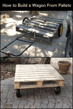 This DIY pallet wagon can help you transport heavy objects without hurting your back. Diy Pallet, Pallet Projects, Woodworking Projects, Old Pallets, Wooden Pallets, Fire Pit Art, Wooden Signage, Marrakech Travel, Wooden Wagon