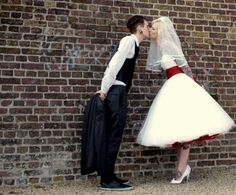 Red And White Vintage Wedding Dress:: Rockabilly Wedding:: Short Wedding Dresses: Rockabilly Retro Bride