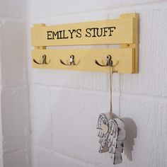 Kids Personalised Wooden Coat Rack with 3 Hooks
