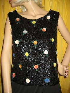 1960s+Black+Sequin+Shell+Top+with+Multi+by+YesterDazeVintageFL,+$39.50