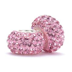 Set of 2 - Bella Fascini Pink Crystal Pave Sparkle Bling - Solid .925 Sterling Silver Core European Charm Bead Made with Authentic Swarovski Crystals - Compatible Brand Bracelets : Authentic Pandora, Chamilia, Moress, Troll, Ohm, Zable, Biagi, Kay's Charmed Memories, Kohl's, Persona & more! Bella Fascini Beads,http://www.amazon.com/dp/B005LK79XA/ref=cm_sw_r_pi_dp_lY0Rsb0G9YMNT8Y0