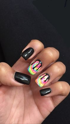 Tie dye drip nails Black drip acrylics with tie-dye background Disney Acrylic Nails, Red Acrylic Nails, Black Nails, Pink Nails, Red Nail Designs, Simple Nail Designs, Tie Die Nails, Tie Dye Background, Nail Printer