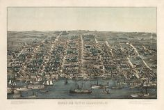 Antique bird's eye view map of Alexandria, Virginia from 1863