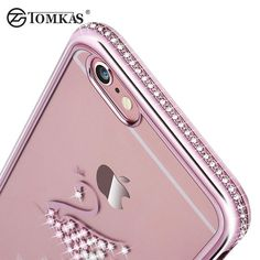 Silicone Case For iPhone 6 6S / 6S Plus Glitter Cute Luxury 3D Diamond Cover Gold Pink i Phone