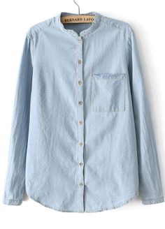 Blue Stand Collar Long Sleeve Pocket Denim Blouse US$24.43