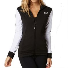 2015 FOX Racing Womens Zip Up Track Jacket Fleece Sweatshirt Casual Top