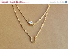 Mothers Day SALE Gold Horseshoe Necklace, Good Luck Necklace, Gold Layer Necklace, Rhinestone Necklace