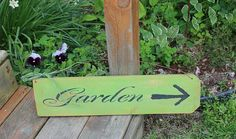 Shabby Garden is that Way Sign in Spring Green by tinkerscottage, $18.00