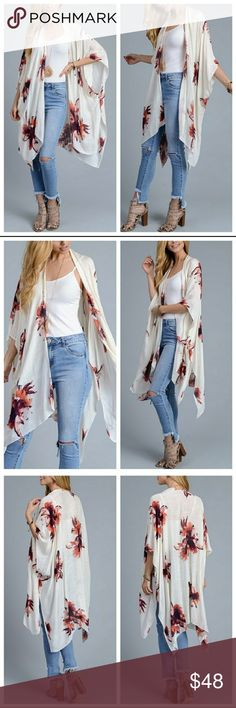 """Ivory Garden Party Kimono Beautiful ivory garden party kimono. 100% Viscose. One size 38""""x46"""". Limited quantities available. Also available in Black. Accessories Scarves & Wraps"""
