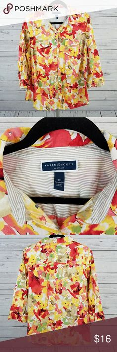 Karen Scott Floral Button Down Top Size 1X NWOT This is a button down floral print multi-colored top by Karen Scott in size 1X that is new without tags (NWOT).  *100% Cotton Karen Scott Tops Button Down Shirts