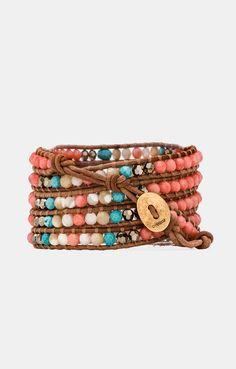 CHAN LUU Wrap Bracelet in Salmon Mix & Beige