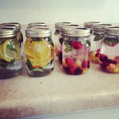 Detox Water. Make several jars or water bottles full of different detox water for verity and a quick and easy drink.