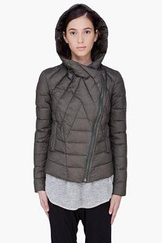 HELMUT Dark Olive Hooded Puffer Jacket
