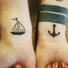 Yay new #ink love my little #sailboat and #anchor thanks @jakeatnocostudio for touching up my back and giving me these lovely little pieces!! by the_cowgrl