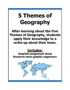Here's an activity where students learn about the five themes of Geography and then apply their knowledge to their own town. Students must research the Location, Place, Region, Human-Environment Interactions and the Movement of their own community.