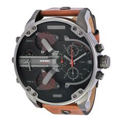 Product Specifications Information Brand:DieselCode:Diesel DZ7332Gender:MensMovement:Quartz Case Diameter:57 mmCase Thickness:15 mmCase Material:Brown LeatherCase Shape:RoundCase Back:SolidBezel Material:Uni-directional Rotating Dial Crystal:Scratch Resistant MineralHands:Silver-toneDial Color:Black (Four Time Zone) Bracelet Features Water Resistance:100 meters / 330 feetFunctions:GMT, Second Time Zone, Hour, Minute, SecondFeatures:Chronograph, GMT, Leather, Time Zone