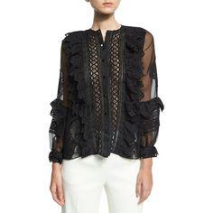 Oscar De La Renta Lace-Trim Balloon-Sleeve Silk Shirt featuring polyvore women's fashion clothing tops black long shirts sleeve shirt silk shirt long tops scalloped tops