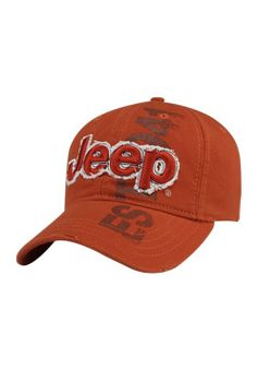 93e31ed7faf Jeep® Orange Cap  cotton twill construction Full jockey shape Heavy garment  washed Velcro closure One size fits most embroidered Jeep® on frayed twill  ...
