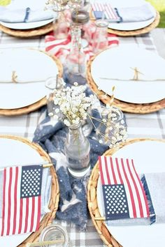 Patriotic table decorations on a budget fourth of july campi Fourth Of July Decor, 4th Of July Celebration, 4th Of July Party, July 4th, All You Need Is, Patriotic Table Decorations, Birthday Decorations, July Wedding, Summer Wedding