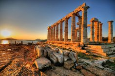 During this period, they would built temples for the Gods, not just Athena. The sun setting at Cape Sounion over the ancient Greek Temple of Poseidon Oh The Places You'll Go, Places To Travel, Places To Visit, Travel Pics, Travel Destinations, Places In Greece, Parthenon, Athens Greece, Attica Greece