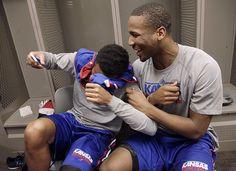 Devonte Graham, left, laughs with Wayne Selden Jr., in the Jayhawks' locker-room Saturday, March 21, 2015 at the CenturyLink Center, Omaha, Neb. .