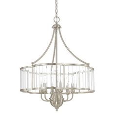 "Capital Lighting Hamilton 6 Light Candle Chandelier;  29"" H x 22.75"" W; brushed nickel; 6 lights, 60W candelabra; shade: clear glass; wire length: 180''; chain or rod length: 120''; $500"