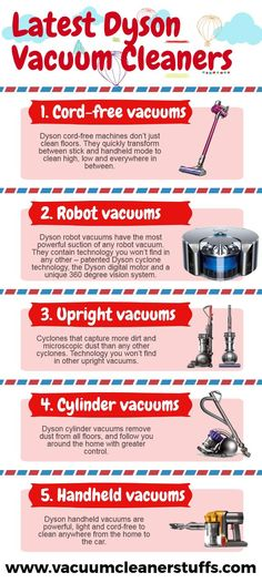 Discover the different types of Dyson vacuum cleaners in the market including cord-free, robot, upright and cylinder (canister) vacuum. Best Cheap Vacuum, Best Vacuum For Carpet, Vacuum Reviews, Canister Vacuum, Handheld Vacuum, Vacuums, Vacuum Cleaners, Infographic