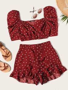 To find out about the Heart Print Puff Sleeve Top With Ruffle Shorts Set at SHEIN, part of our latest Two-piece Outfits ready to shop online today! Girls Fashion Clothes, Teen Fashion Outfits, Outfits For Teens, Girl Fashion, Girl Outfits, Clothes For Women, Fashion Black, Fashion Ideas, Cute Summer Outfits