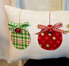 Christmas Pillow Burlap Christmas Pillow Fabric Christmas Ornaments Pillow Jingle Bell Christmas Pillow Holiday Xmas gift by sherisewsweet on Etsy Fabric Christmas Ornaments, Burlap Christmas, Christmas Bells, Christmas Trees, Diy Christmas Pillows, Burlap Ornaments, Christmas Sewing Gifts, Fabric Christmas Decorations, Christmas Snowman
