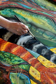 Silk Painting- Moon Rhapsody