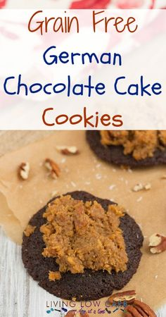 Grain Free German Chocolate Cake Cookies | lowcarboneday.com #grainfree #paleo #lowcarb