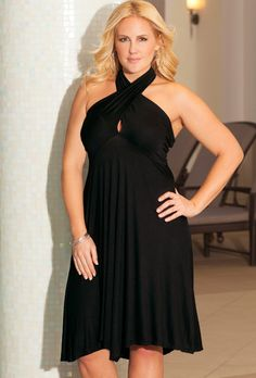 b. belle Black Plus Size 6-in-1 Convertible Dress(Come on get your gift swim suits and dresses at swimsuit for women)