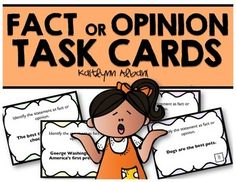 Fact or Opinion Task Cards for Reading Comprehension
