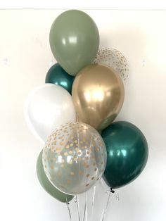 Green and White Balloons Balloon Lights, Balloon Garland, Balloon Decorations, Bridal Shower Decorations, Birthday Party Decorations, Wedding Decorations, Green Bridal Showers, White Balloons, Balloon Bouquet
