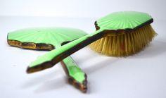 1920s Art Deco Green Vanity Set Vintage Dressing Table Vintage Brush Mirror in Bright Green Guilloche Enamel by FillyGumbo on Etsy https://www.etsy.com/listing/279855416/1920s-art-deco-green-vanity-set-vintage