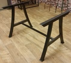 Vintage industrial furniture, restored metal and wooden tables, shelves and seating - Steel Table Bases