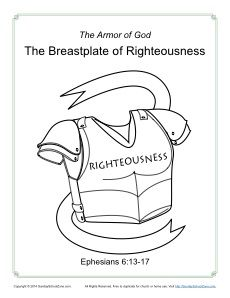 Breastplate of Righteousness Coloring Page - Armor of God for Kids and Bible Lesson to go with it! Preschool Bible Lessons, Bible School Crafts, Bible Lessons For Kids, Bible Activities, Bible Crafts, Church Activities, Sunday School Projects, Sunday School Kids, Sunday School Activities