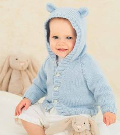 Cardigan with Collar or Hood and Hat in Rico Design Baby Classic DK (092) - Digital Version | Baby Knitting Patterns | Knitting Patterns | Deramores