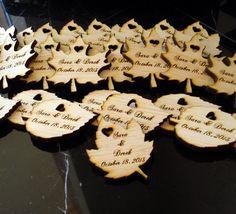 80 Wood Leaf Wedding Favors Personalized by EtchedinTimeLLC, $48.00