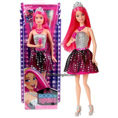 """Barbie Rock'N Royals Series 12"""" Doll Set - Lead Singer PRINCESS COURTNEY (CKB66) with Microphone, Necklace and Tiara"""