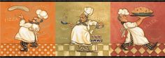 Italian Fat Chef Wallpaper Border KBE12641B Kitchen Decor Buon Appetit