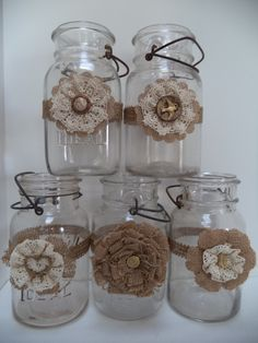 Mason Jar Decorations in Gold with Cream and burlap for 50th Wedding Anniversary and Primitive Country Outdoor Weddings to hold flowers or candles.