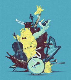 Animals play musical instruments.