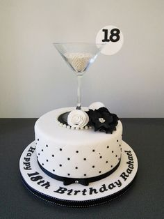 Martini cocktail glass, black and white cake
